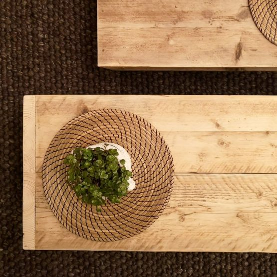 rustic coffee tables and plants