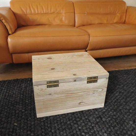 A useful reclaimed timber ottoman storage unit