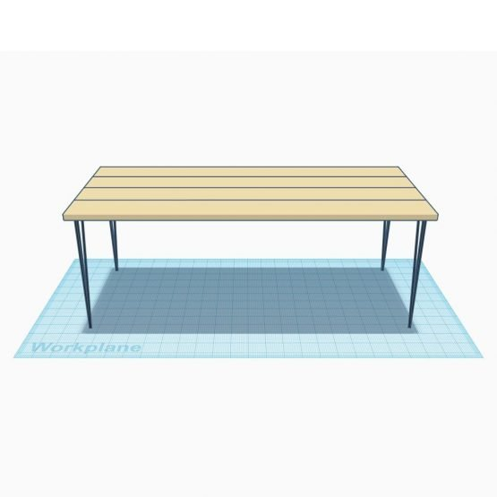 A rustic dining table with hairpin legs