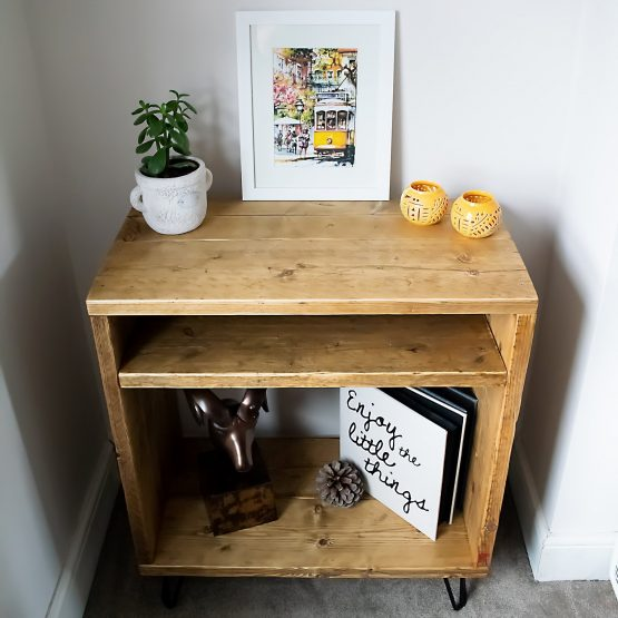 A rustic reclaimed wood record player vinyl unit front